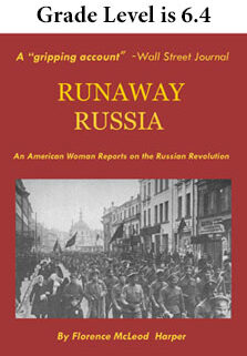 Scene of crowd marching and title of Runaway Russia